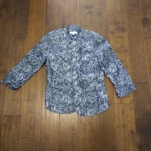 Coldwater Creek size 6 blue Jacket rose texture